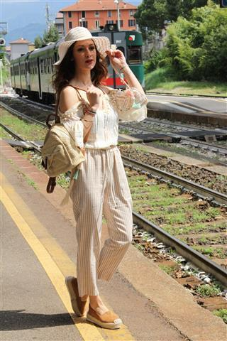 Striped trousers with lace top