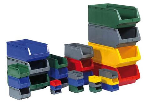 High quality professional bins suitable for small parts, components and different industrial storage systems. Stackable and interlocking containers, available in different sizes and colours.