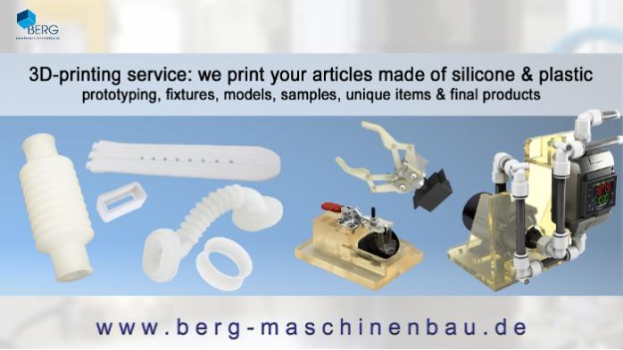 3D printing service made of silicone & plastic