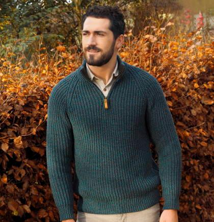 Mens ribbed sweater in pure wool