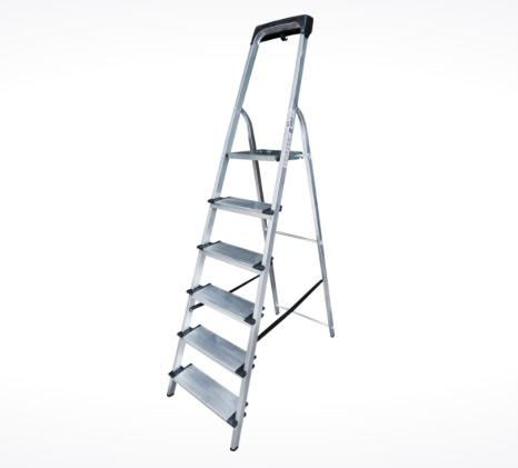 Aluminum stepladder with storage tray
