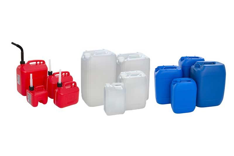 Plastic jerrycans, drums and canisters for food, fuels and other liquids made of high quality plastics and available in different volumes, sizes and executions.