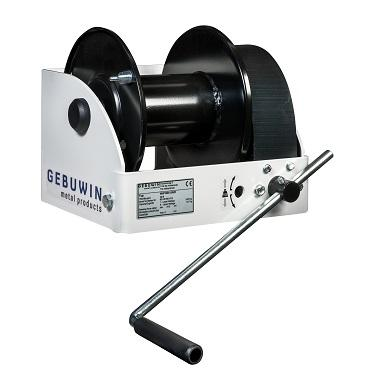 Worm gear hand winch with a hoisting capacity of 1000kg on the first cable layer. Also available from 250kg up to 7500 kg in the first layer.