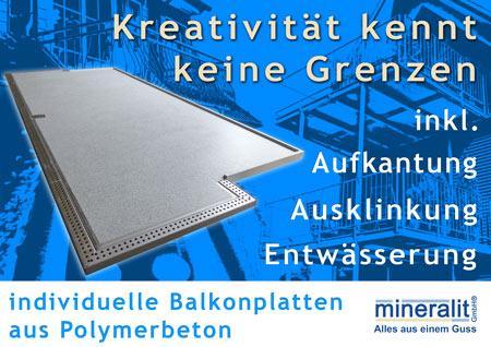 freitragende Balkonplatten aus wasserdichtem Mineralit