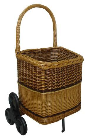 Chariot à bois osier pour escalier - La Vannerie d'Aujourd'hui