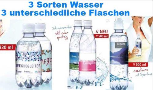 Flaschen mit Wasser