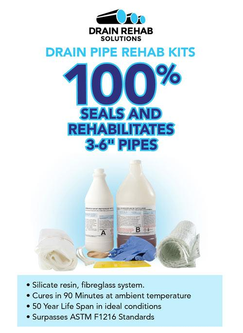 CIPP Drain Pipe Rehab Kit (For plumbers, contractors & drain cleaners)