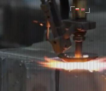 Gas cutting.