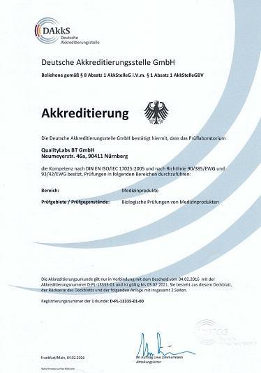 Akkreditierungsurkunde ISO/IEC 17025