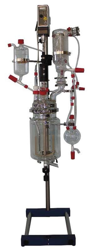 Complete glass reactor assembly
