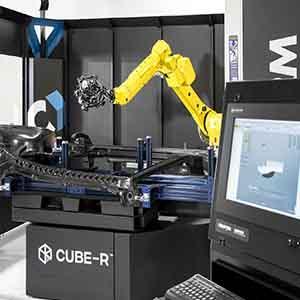 Scanner 3D CMM ottico su robot per controllo qualità