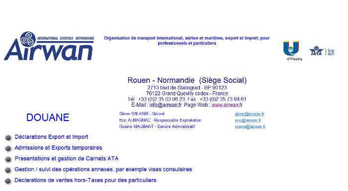DECLARATION DOUANE IMPORT EXPORT SPECIALISTE AIRWAN INTERNATIONAL