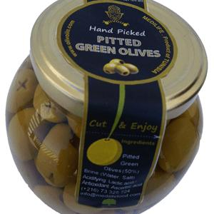 Pitted Green Olives in 370mL Round Glass Jar