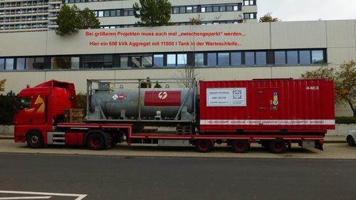 600 kVA Aggregat mit 11500 l Tank