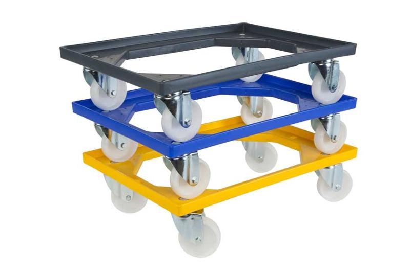 ABS undercarriage suitable for Euronorm size stacking containers. Designed to move loaded euronorm crates and containers with ease and speed. Many types and different colours available.