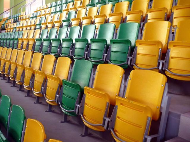 Blow molded seating, tip-up seat, folding seat, tip-up chair, stadium chair