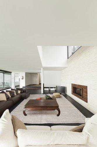 Design Wollteppich in Wohnzimmer