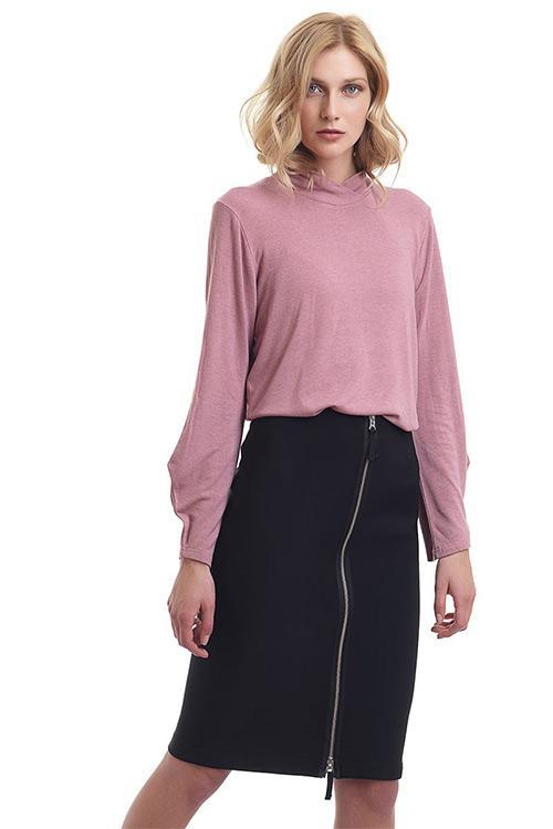 Midi highwaist skirt with metallic back zipper