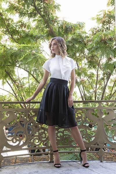 Black skirt with shirt