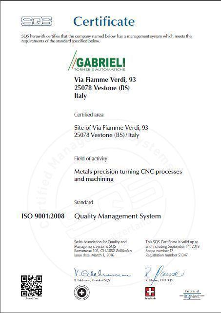 CERTIFICATO ISO 9001:2008 Quality Management System