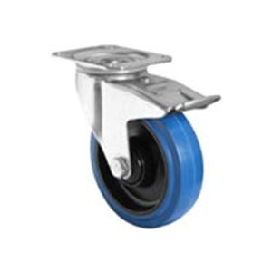 Blue wheel castor with total lock