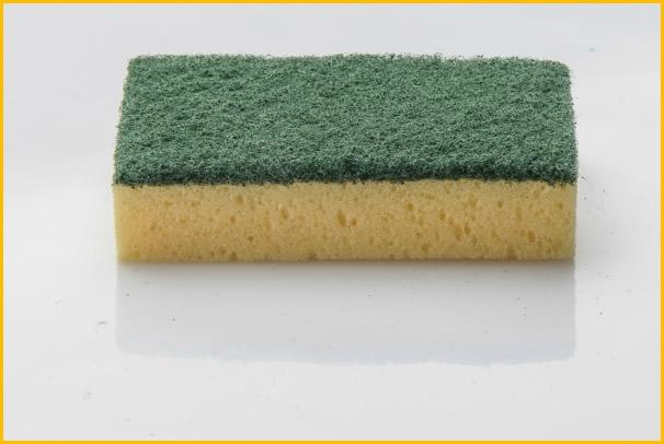 Kitchen sponges with scouring pads