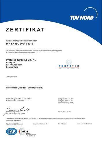 Zertifikat DIN EN ISO 9001 : 2015