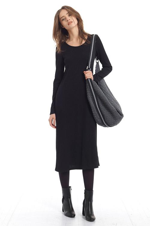 Wasted,midi dress with three quarter sleeves