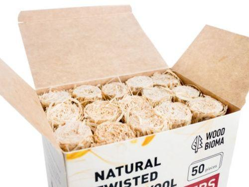 Natural wood wool firelighters