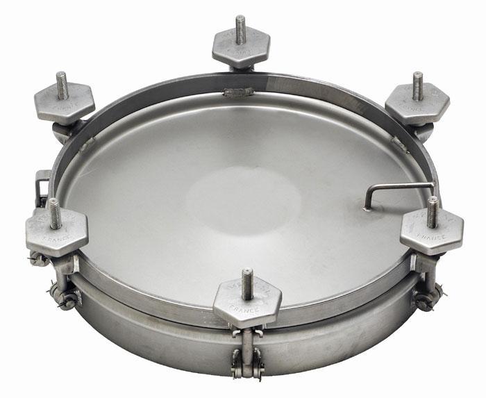 Porte ronde acier ou inox - 1.3 bar de pression de service - 6 serrages de périp