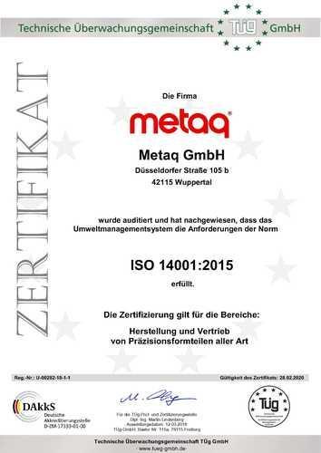 Zertifikat ISO 14001:2015