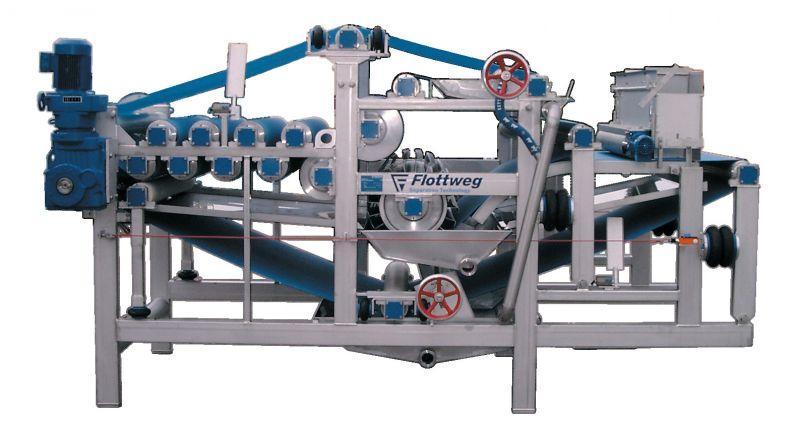 用于果汁生产和化学,制药及食品工业中的脱水和过滤的带式压滤机