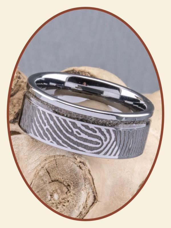 JB Memorials Tungsten Carbide Brede Vingerafdruk As Ring