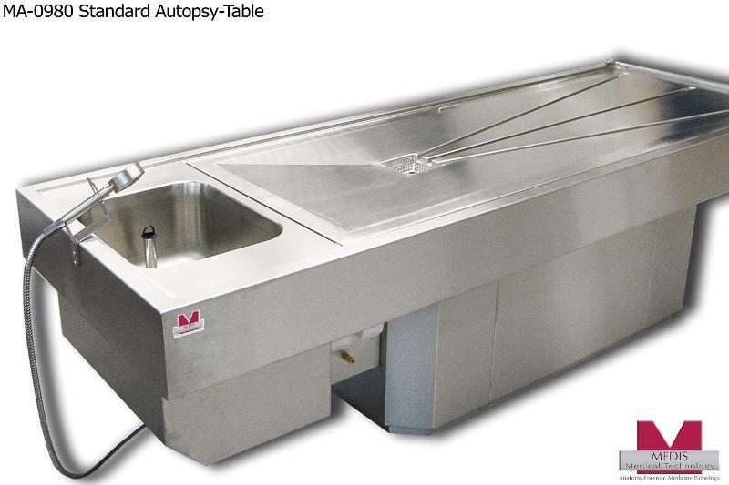 Autopsy-Table, standard w. pedestal, stationary