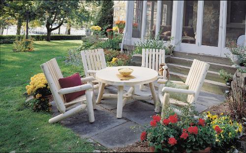 Ensemble salon de jardin en bois, Fauteuil RONDINS et table basse en ...