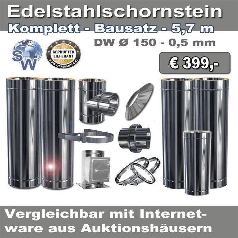 Edelstahlschornstein Bausatz - Sonderangebot 5,7m - Ø...