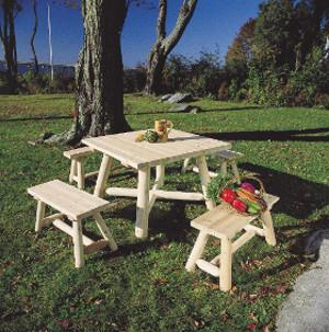 Table De Jardin Carree Et Bancs En Bois Ensemble De Salle A Manger