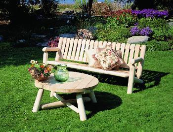 Canapé de jardin en bois, Canapé banc d\'extérieur et table basse en ...