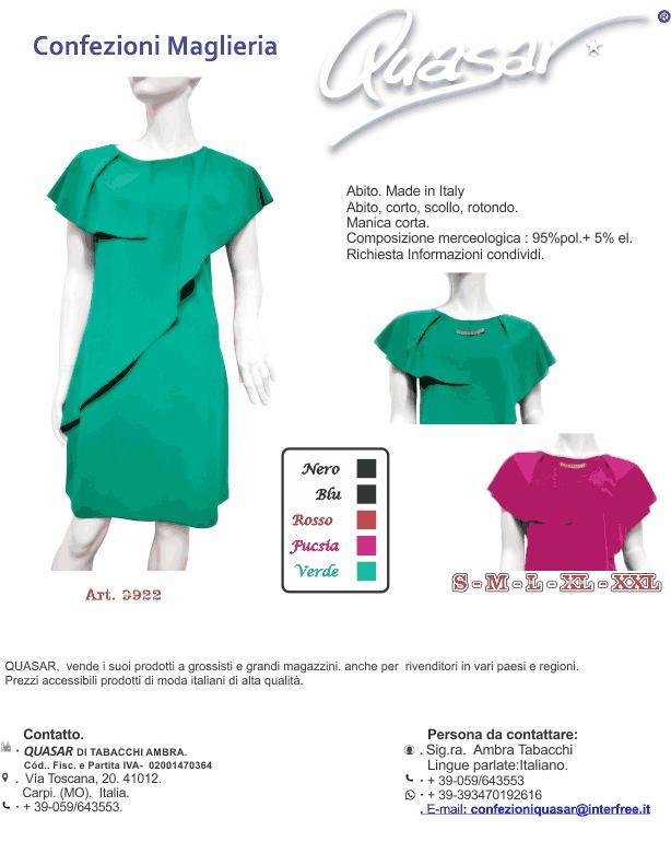 Vestiti Eleganti Italiani.Abbigliamento Quasar Ambra Vestiti Eleganti Corti Per Donne