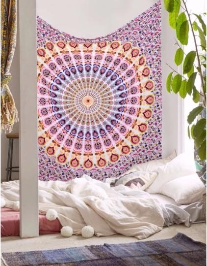 Beautiful Peacock Printed Mandala Wall Handing Boho Tapestry