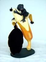 Banane mit Äffchen und Tafel (klein) [1431]