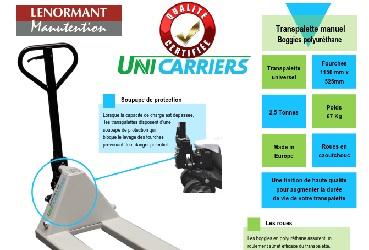 Transpalette manuel qualité certifiée UNICARRIERS