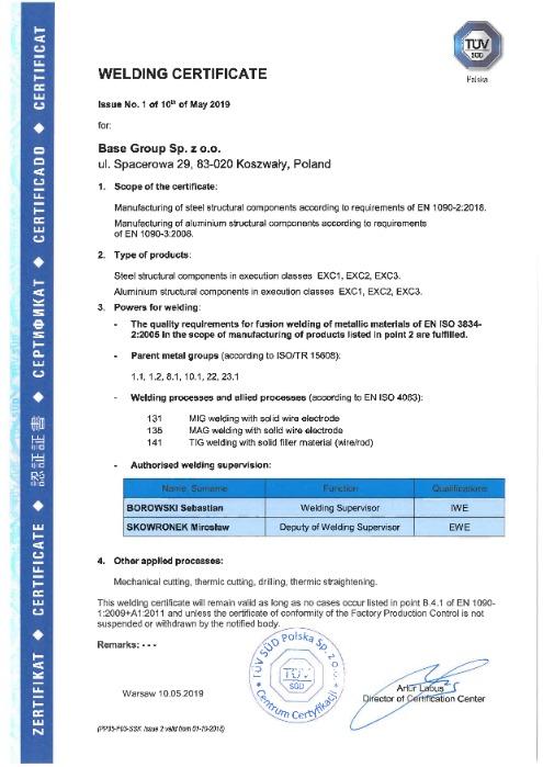 Certificate in EN 1090-2 and EN 1090-3