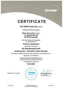 Pressure equipment certification