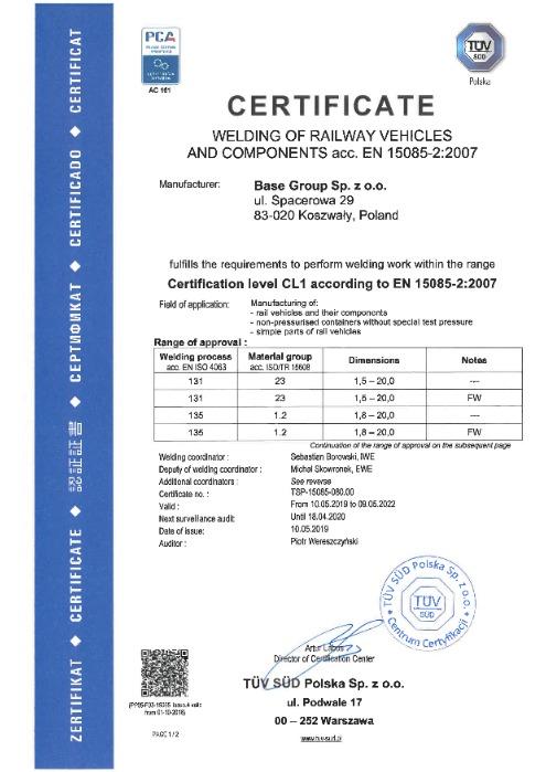 Certificate in EN 15085