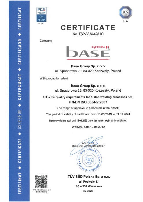 Certificate in ISO 3834-2