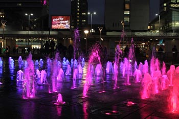 Piccadilly Gardens fountains flow once more