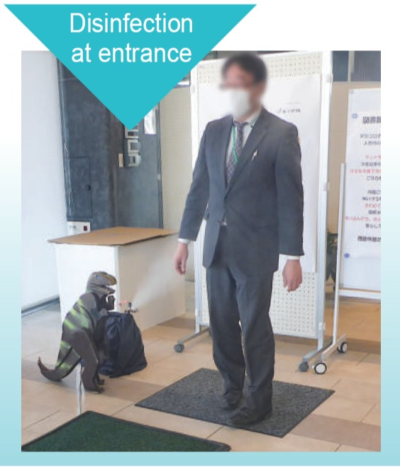 Disinfect with fine fog at the entrance of public buildings