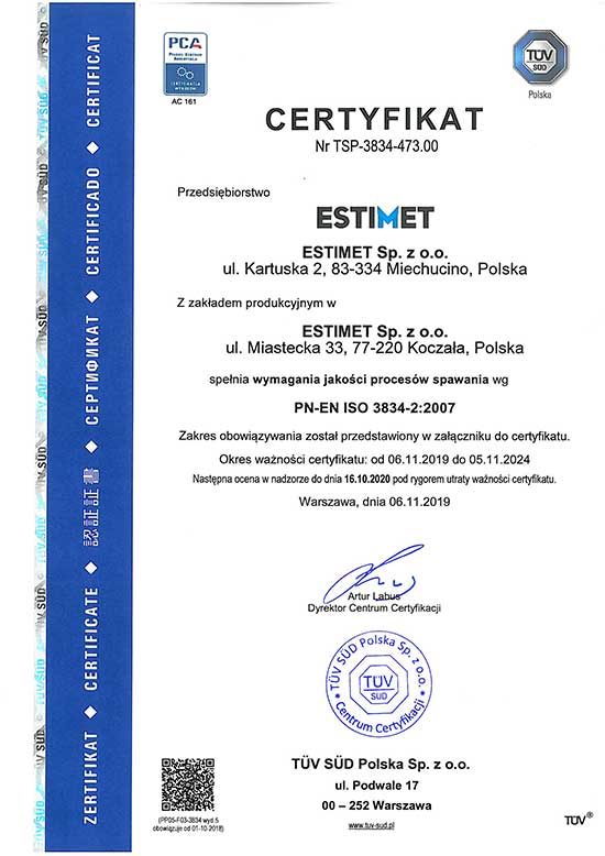 Certyfikat ISO 3834-2