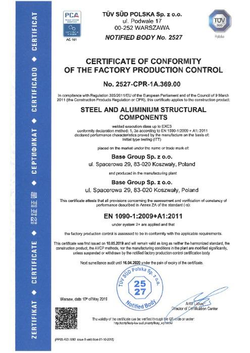 Certificate in EN 1090-1